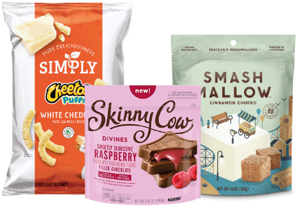 Frito-Lay's Simply Cheetos Puffs, Nestle Skinny Cow Divines Sweetly Seductive Raspberry Filled Chocolates and Smash Mallow snackable marshmallows