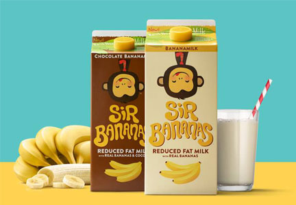 Sir Bananas, dairy beverage featuring reduced-fat milk and real bananas in chocolate and original varieties, WhiteWave Foods