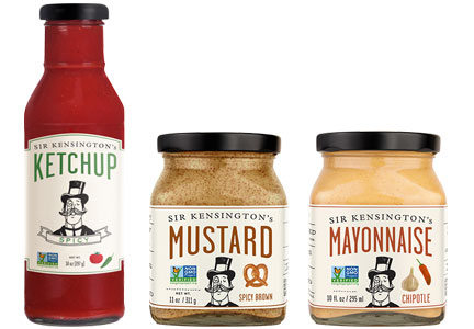 Sir Kensington's products - ketchup, mustard, mayonnaise