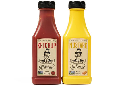 Sir Kensington's ketchup and mustard in squeeze bottles