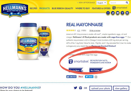 SmartLabel on Hellmann's web site
