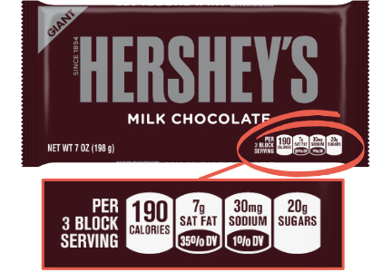 Hershey front of pack nutrition label