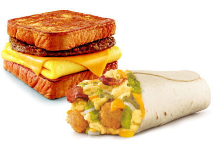 Sonic Drive-In breakfast items featuring eggs, cage-free eggs