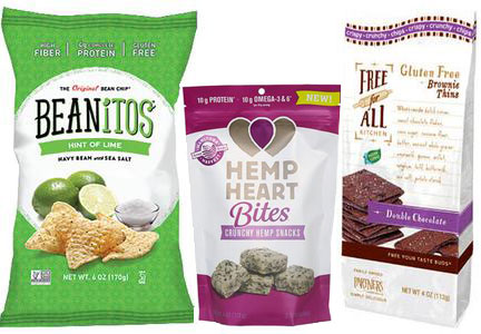 Specialty Foods, Beanitos, Hemp Heart Bites, Free for All gluten-free brownie