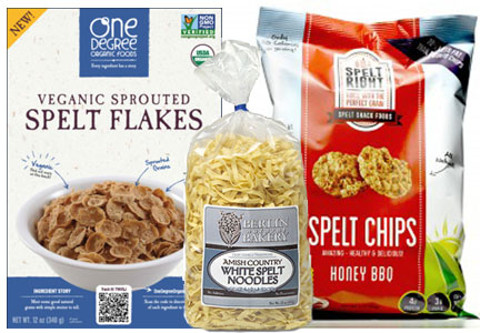 Spelt products, Spelt Right Foods chips, Berlin Natural Bakery spelt noodles, One Degree Organic Foods cereal