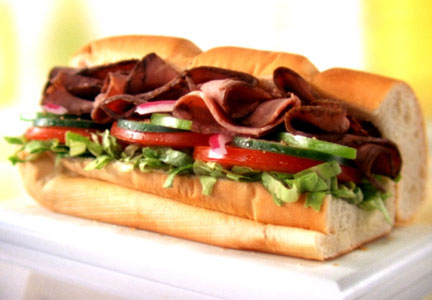 Subway roast beef sub sandwich