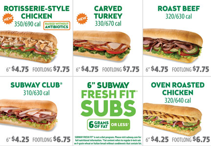 Subway menu board calories