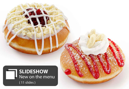 Krispy Kreme Cherry Pie Donut, Strawberry Shortcake Donut
