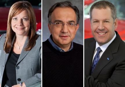 Mary Barra, chairman and c.e.o. of General Motors Co.; Sergio Marchionne, c.e.o. of Fiat Chrysler; and Joseph Hinrichs, executive vice-president and president of global operations at Ford Motor Co.