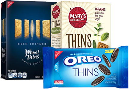 Wheat Thins Even Thinner, Mary's Gone Crackers Thins, Oreo Thins