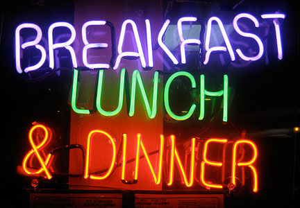 Breakfast, lunch and dinner sign - three meals a day