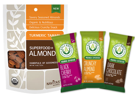 Products featuring turmeric and moringa, superfoods