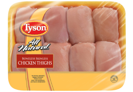 Tyson Foods raw chicken thighs