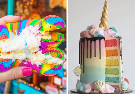 Unicorn bagels and layer cake