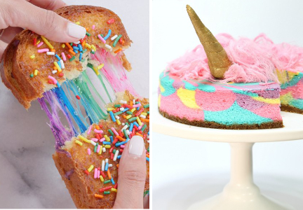 Unicorn grilled cheese and cheesecake
