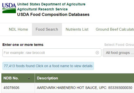 U.S.D.A. nutrition database web site