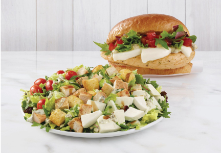 Wendy's Fresh Mozzarella Chicken Sandwich and Salad