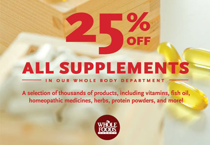 Whole Foods supplement sale ad