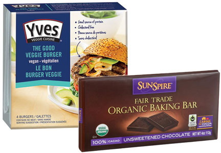 Yves vegetarian meals, Sunspire chocolate, Hain Celestial